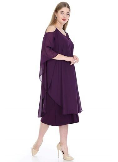 Angelino Butik Büyük Beden Omuzları Taşlı Askılı Şifon Elbise KL805 Mor